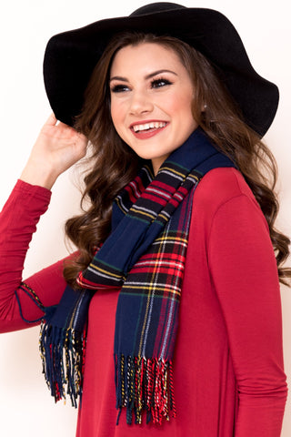 Back to December Scarf in Navy/Red