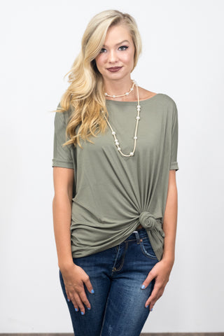 Piko Knot Top in Olive Moss