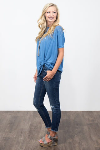 Piko Knot Top in Blue Stonewash