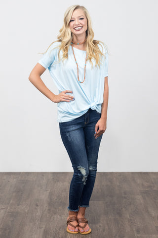 Piko Knot Top in Light Blue
