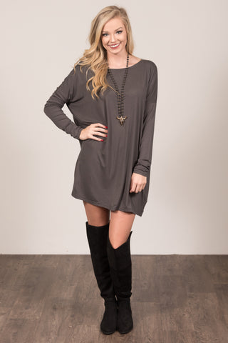 Piko Perfect Dress in Dark Grey