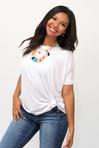Piko Knot Top in Bleach White