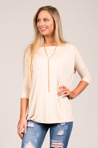 Piko Perfect 3/4 Sleeve Top in Beige