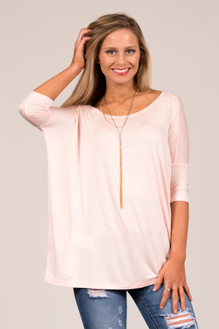 Piko Perfect 3/4 Sleeve Top in Blush