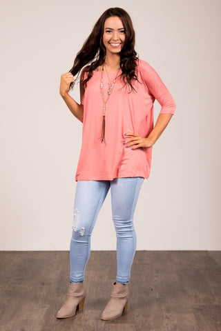 Piko Perfect 3/4 Sleeve Top in Coral