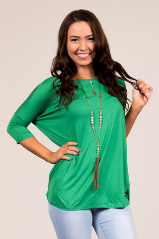 Piko Perfect 3/4 Sleeve Top in Green