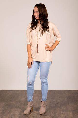 Piko Perfect 3/4 Sleeve Top in Warm Sand