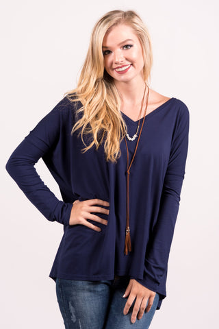 Piko Perfect V-neck Top in Navy