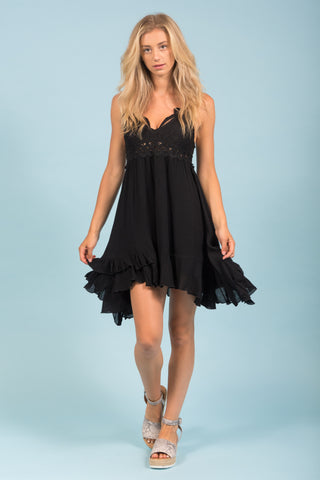 Thrills and Frills Dress in Black