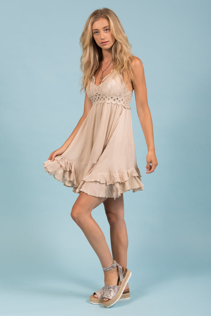 Thrills and Frills Dress in Champagne