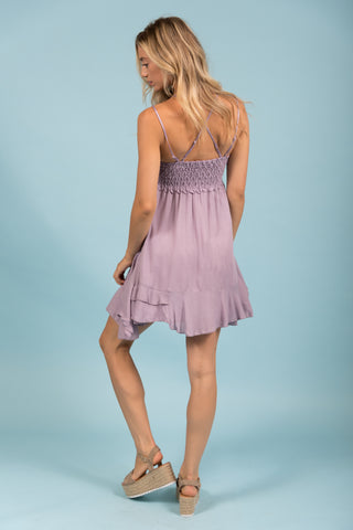 Thrills and Frills Dress in Mauve