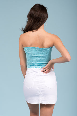 Girls Like you Tube Top in Light Blue