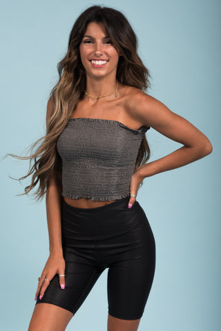 Girls Like you Tube Top in Charcoal