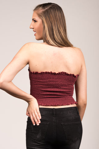Girls Like you Tube Top in Burgundy