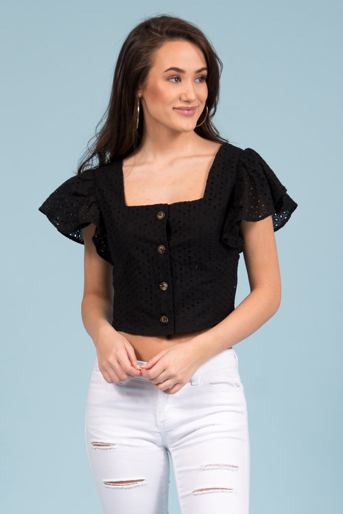 Hello Spring Top in Black