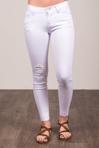 Everyday Denim in White Distressed