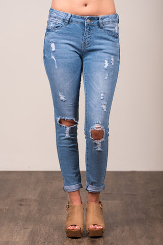Everyday Denim in Light, Knee Burst Crop