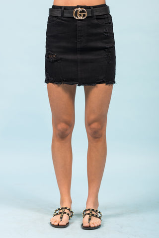 Magnetic Energy Denim Skirt in Black