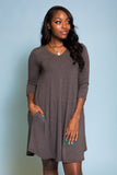 Syracuse V-Neck Dress in 3/4 Sleeves in Charcoal