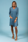 Syracuse V-Neck Dress in 3/4 Sleeves in Titanium