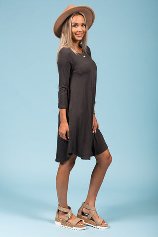 Syracuse Crew Neck Dress in 3/4 Sleeves in Ash Grey
