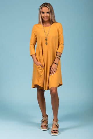 Syracuse Crew Neck Dress in 3/4 Sleeves in Ash Mustard