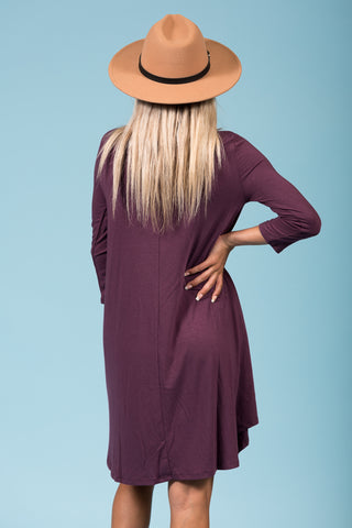 Syracuse Crew Neck Dress in 3/4 Sleeves in Eggplant