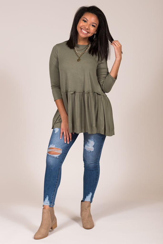 Tallulah Tunic in Light Olive