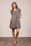 Westbury V-neck Dress in Mid Grey