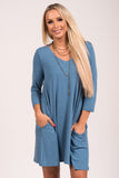 Soho Square V-Neck Dress 3/4 Sleeves in Titanium