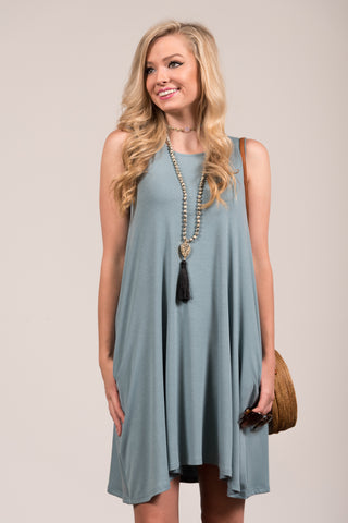 Bondi Swing Dress in Blue Grey