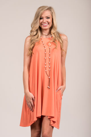 Bondi Swing Dress in Deep Coral