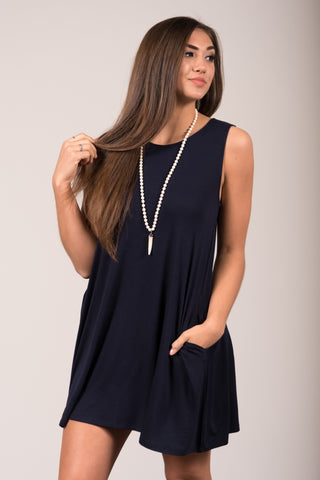 Bondi Swing Dress in Navy