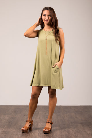 Bondi Swing Dress in Sage