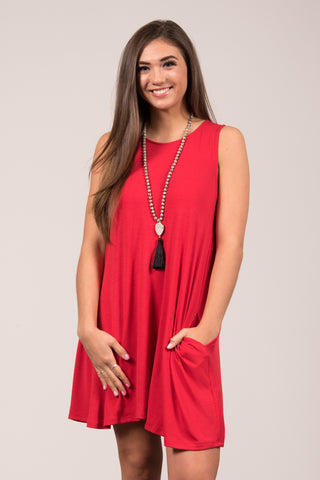 Bondi Swing Dress in Ruby