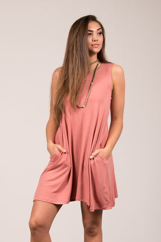 Bondi Swing Dress in Ash Rose