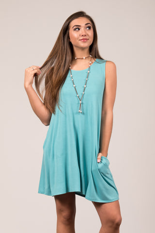 Bondi Swing Dress in Ash Mint