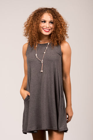 Bondi Swing Dress in Charcoal
