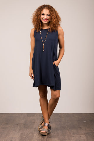 Bondi Swing Dress in Midnight Navy