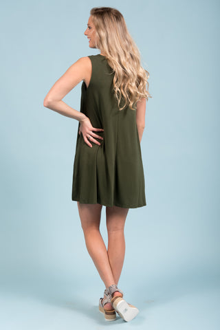 Bondi Swing Dress in Army Green