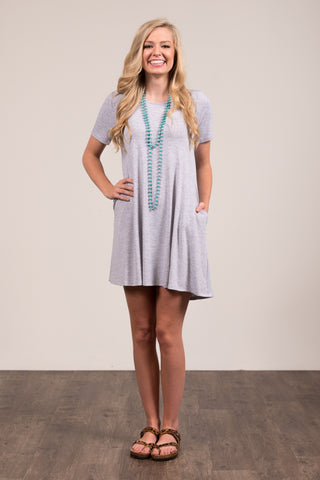 Montauk Swing Dress in Heather Grey
