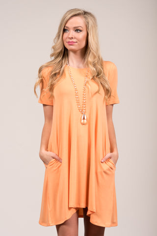 Montauk Swing Dress in Peach