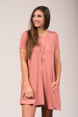 Montauk Swing Dress in Ash Rose