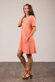 Montauk Swing Dress in Deep Coral