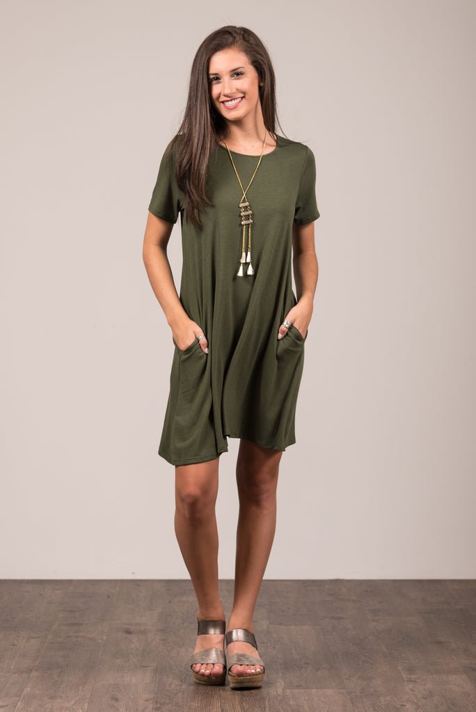 Montauk Swing Dress in Army Green