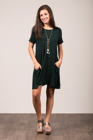 Montauk Swing Dress in Hunter Green