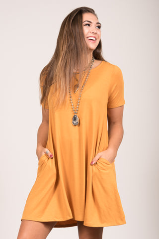 Montauk Swing Dress in Ash Mustard
