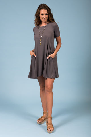Montauk Swing Dress in Mid Gray