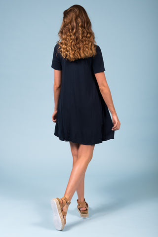 Montauk Swing Dress in Midnight Navy