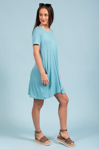 Montauk Swing Dress in Milky Blue